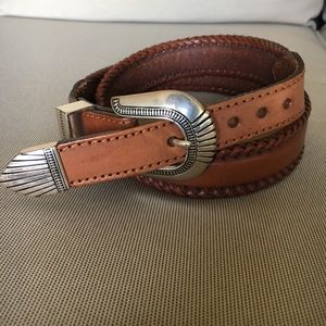 Women's Brown Leather Western Belt Vintage